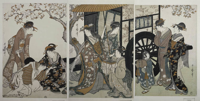 Mitate gosho-guruma] = [Parody of an imperial carriage scene]