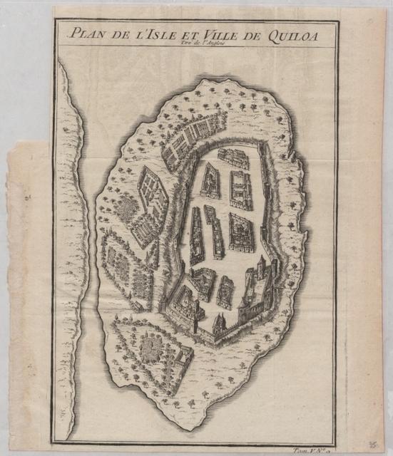 Plan de l'isle et ville de Quiloa: Tiré de l'Anglois