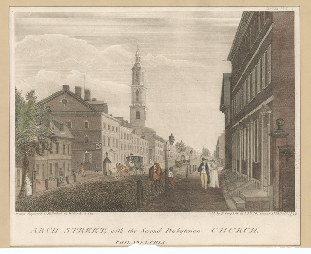 Arch Street, with the Second Presbyterian Church, Philadelphia.