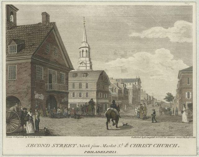 Second Street north from Market St. wth. Christ Church, Philadelphia.