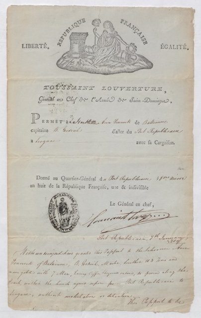 Certificate permitting the schooner Ann Pennock of Baltimore to go from Port Republicain to Leogane
