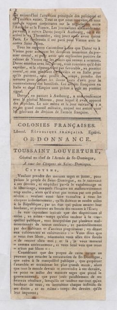 Toussaint Louverture, Order to Citizens of St Domingue