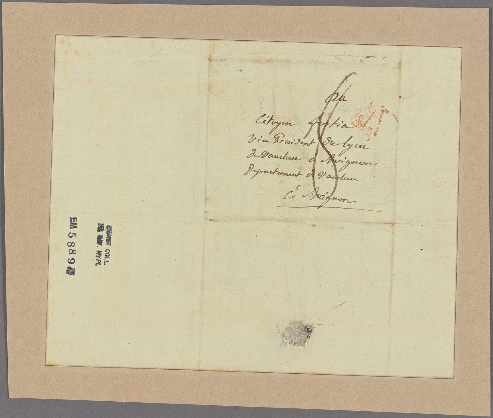 Letter to Agricole-Joseph-Francois-Xavier-Pierre-Esprit-Simon-Paul-Antoine Fortia, Marquis de Fortia Urban