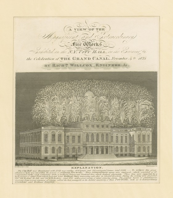 A view of the magnificent and extraordinary fire works exhibited on the N.Y. City Hall on the evening of the celebration of the grand canal, November 4th 1825