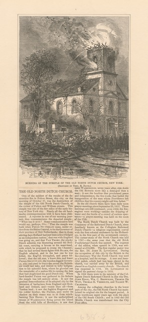 Burning of the Steeple of the Old North Dutch Church, New York