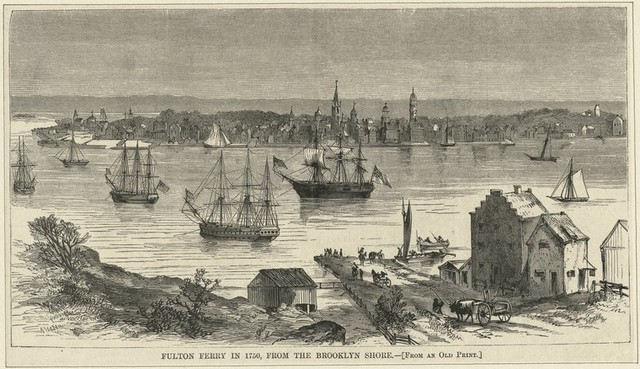 Fulton Ferry in 1750, from the Brooklyn Shore