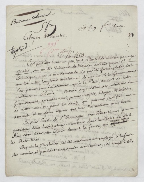 Letter to the Minister of Marines and Colonies, Paris