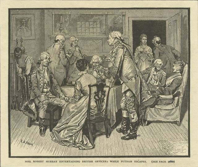 Mrs. Robert Murray entertaining British officers, while Putnam escapes