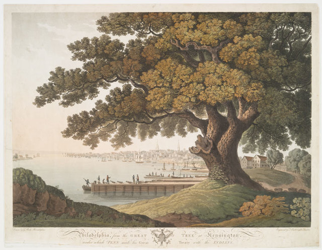 Philadelphia, from the great tree at Kensington, under which Penn made his great treaty with the Indians.
