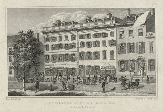 Residence of Philip Hone Esq. and American Hotel, Broadway