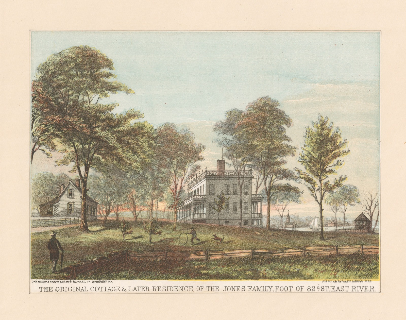 The Original Cottage & Later Residence of the Jones Family, foot of 82nd St. East River