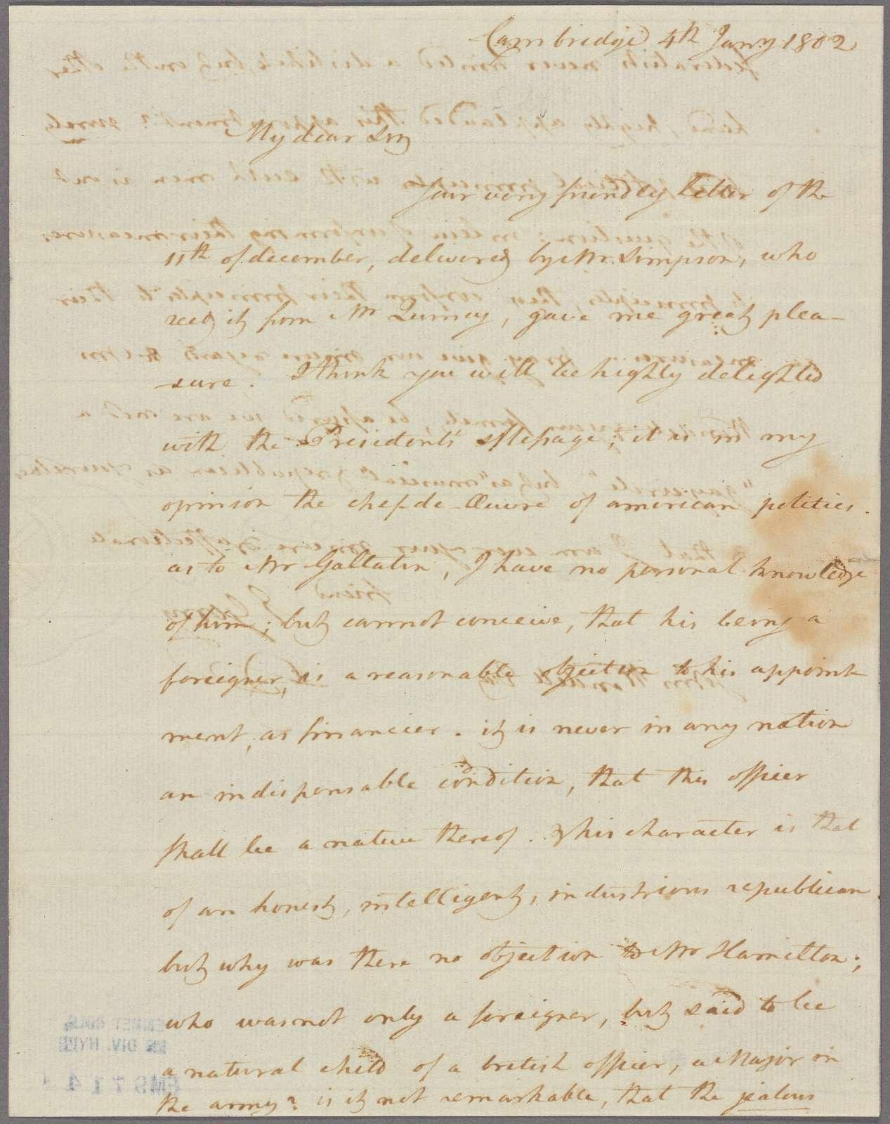 Letter to John Wendell [Portsmouth, N. H.]