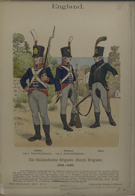 England. Die Hollaendische Brigade (Dutch Brigade). 1799-1802. Fuesilier vom 1. Infanterie-Regiment, Flankeur vom 2. Infanterie-Regiment, Jaeger.