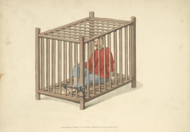 A malefactor in a cage.