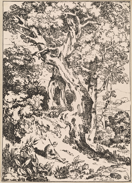 Study of old trees and shrubs with seated figure