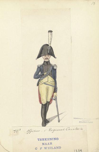 (W.3) Officier. 1 Regiment Cavalerie. Teekening Naar of Weiland.  1804
