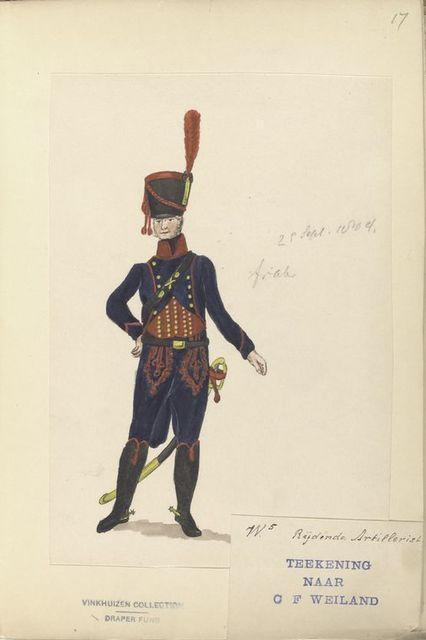 (W.5) Rijdende Artillerist. Teekening Naar of Weiland. 29 Sept. 1804