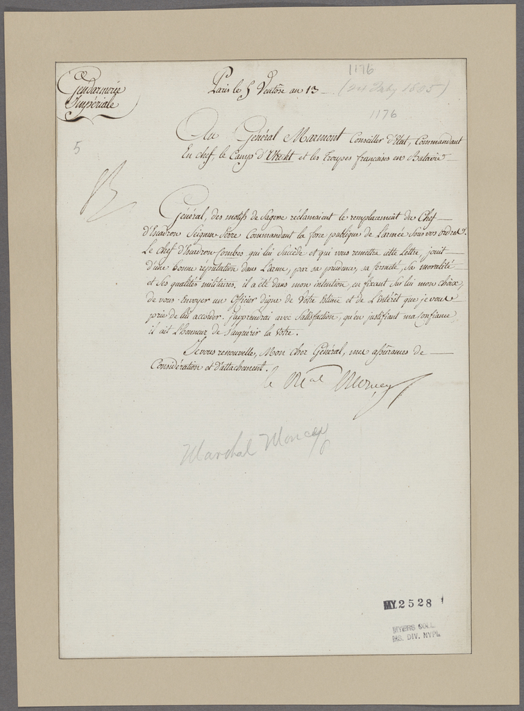 Moncey, Bon-Adrien-Jeannot. To General Marmont
