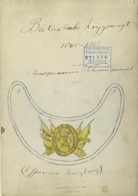 Title page Bataafsche Krijgsmaijt 1805-1806;  Officieren Ringtragung?