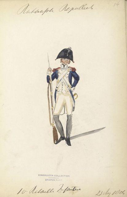 Bataafsche Republiek.  10 Bataillon Infanterie. 23 Aug., 1804