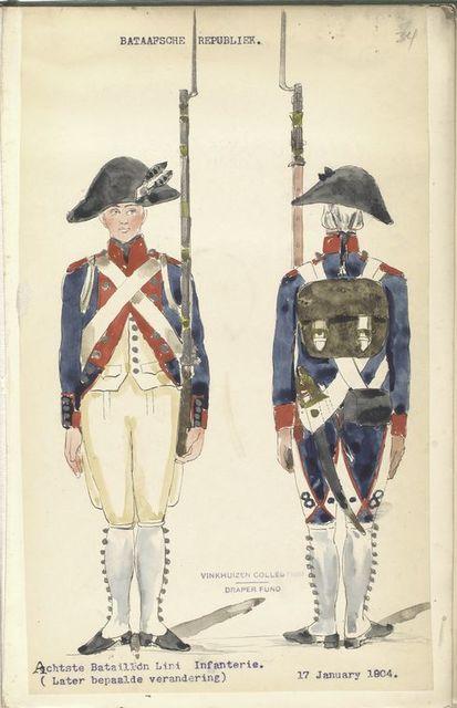 Bataafsche Republiek. Achtste Bataillon Linie Infanterie (Later bepaalde verandering). 17 January 1804