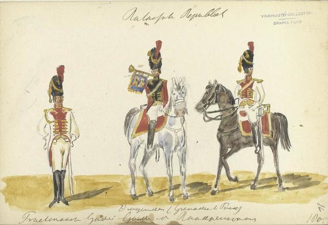 Bataafsche Republiek. Dragonders (Grenadier te Paard). Fraetinaansch (?) Garde:  Garde van der Roodp[...] . 1805