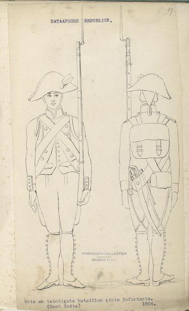 Bataafsche Republiek. Drie en twintigste bataillon Linie Infanterie. (Oost Indie). 1804