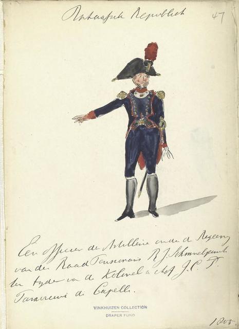 Bataafsche Republiek. Een officier der Artillerie onder de Regeering van der Rood P, R. J. Schmuel() ten tijde vanden Kolonel an chef. G.C. Paracrewi [?] a Capelli. 1805