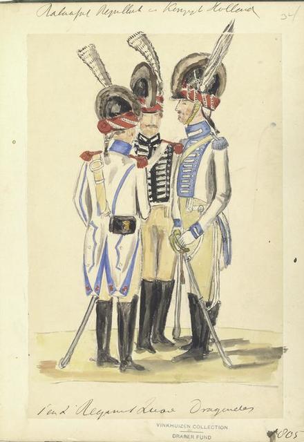 Bataafsche Republiek en Koninklijk Holland.  1 en 2 Regiment L... Dragonder. 1805