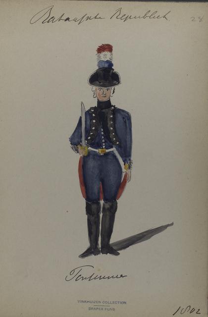 Bataafsche Republiek. [Front view of an officer with a sabre].