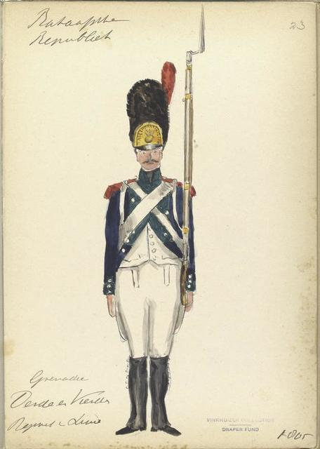 Bataafsche Republiek. Grenadier Derde e Vierde Regiment van Linie. 1805