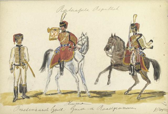 Bataafsche Republiek. Huzaren. Fraetinaansch (?) Garde:  Garde van der Roodp[...]. 1805