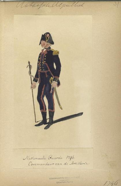 Bataafsche Republiek, Nationaal Garde 1796, Commandeur van de Artillerie
