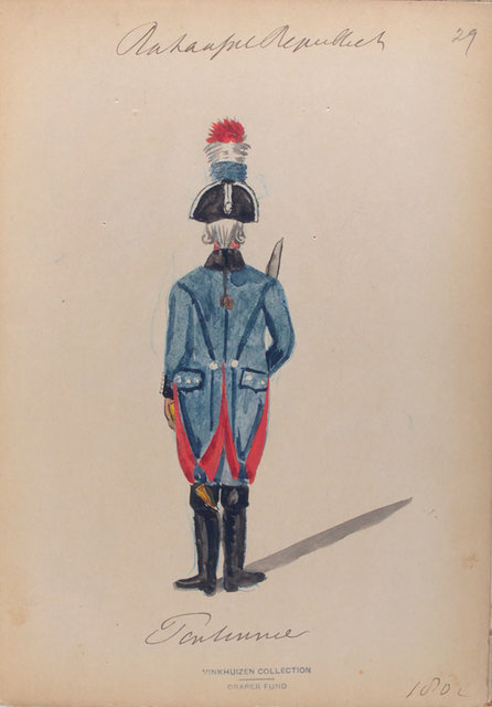 Bataafsche Republiek. [Rear  view of an officer with a sabre].