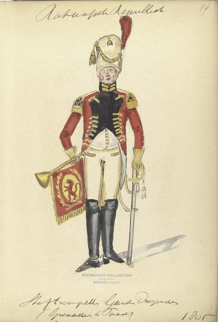 Bataafsche Republiek. Trompetter Garde Dragonder (Grenadier te Paard). 1805