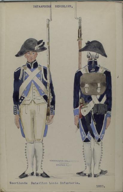 Bataafsche Republiek. Veertiende Bataillon Linie Infanterie.