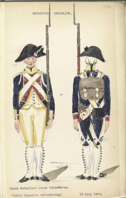 Bataafsche Republiek. Zesde Bataillon Linie Infanterie (Later bepaalde verandering). 13 July 1804