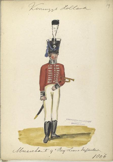 Koninklijk Holland. Muziekant 9-e Reg. Linie Infanterie. 1806
