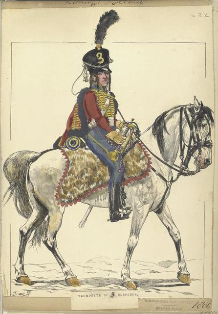 Koninklijk Holland. Trompette du 3 Hussards. 1806