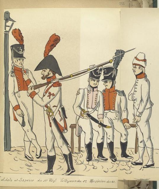 Soldats et Sapeur du 3-er Reg-t; Voltigeur de 2-e, Musicien du 4-e [Reg-ts]