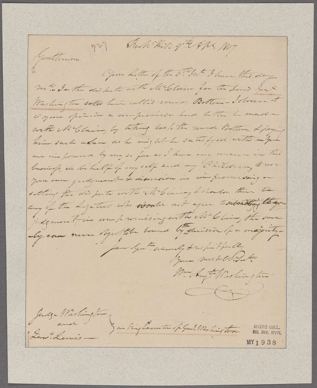 Washington, William Augustine. Rich Hill. To Judge Washington and Lawrence Lewis