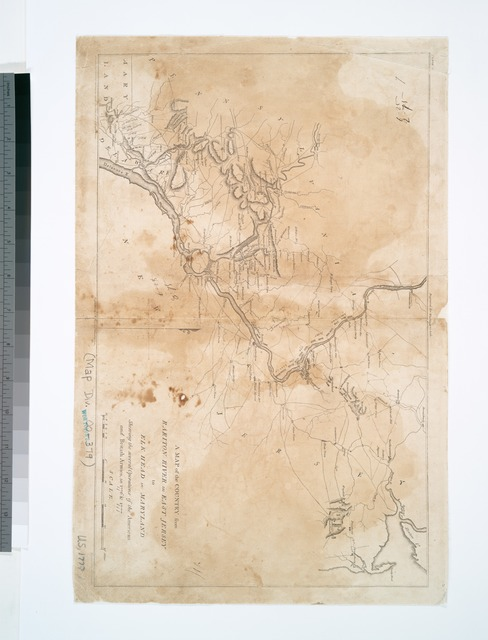 A map of the country from Rariton River in East Jersey to Elk Head in Maryland : shewing the several operations of the American and British armies, in 1776 & 1777