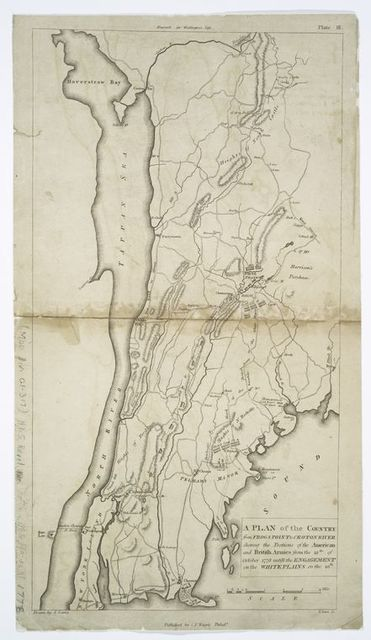 A plan of the country from Frogs Point to Croton River : shewing the positions of the American and British armies from the 12th of October 1776 until the engagement on the White Plains on the 28th