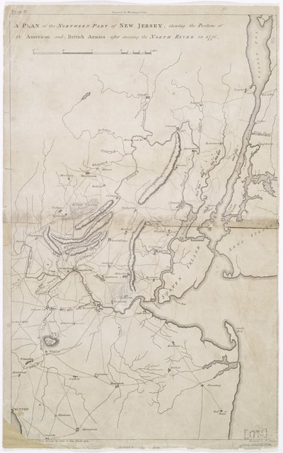 A plan of the northern part of New Jersey : shewing the positions of the American and British armies after crossing the North River in 1776