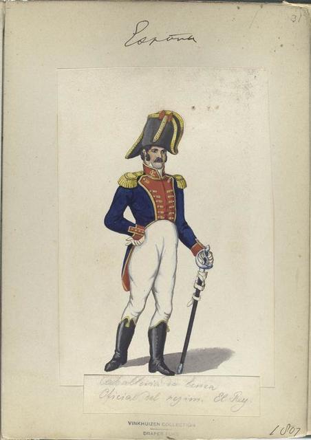 Caballeria de linea. Oficial del rejim. El Rey. 1807