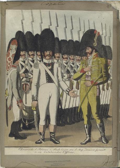 Ehrenwache d. Prinzen v. Ponte Corvo aus d. Reg. Zamora formirt. u. ein Catalonischer Officier. 1807