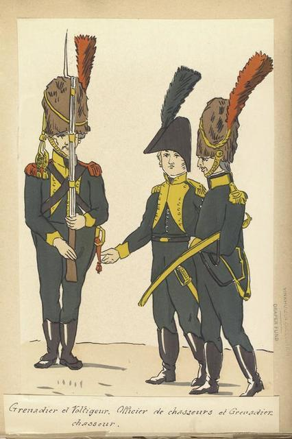 Grenadier et Voltigeur. Officier de chasseurs et Granadier chasseur.