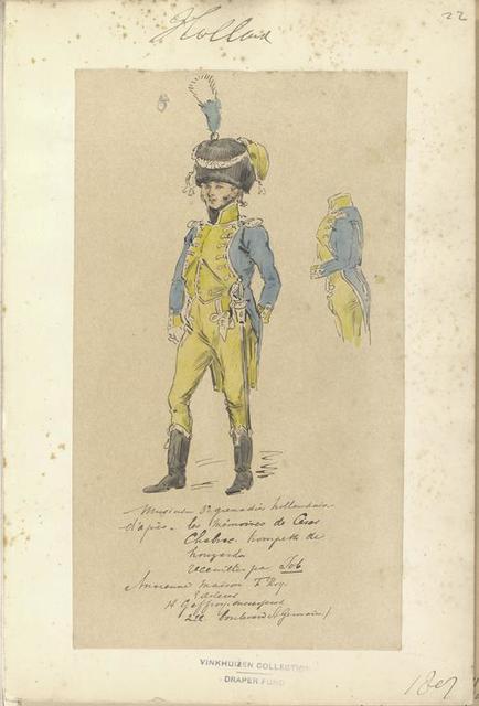 """Holland. Musicien 3 Grenadier Hollandaise, d'apres """"les Mémoires de César Chabrac. Trompette de houzard"""".. 1807"""