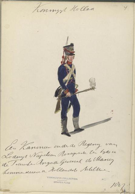 Koninklijk Holland. Een Kanonier onder de Regering van Lodewijk Napoleon Bonapart ten tijde van de Fransche Brigade Generaal de Marceij [...] van Holland Artillerie. 1807