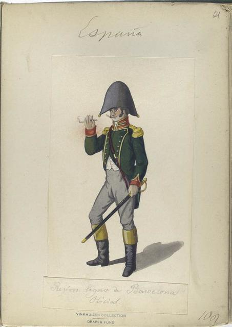Regim. lijero de Barselona. Oficial. 1807